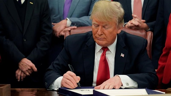 Trump signing the First Step Act