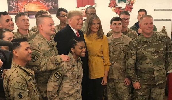 Trump with troops during surprise visit to Iraq